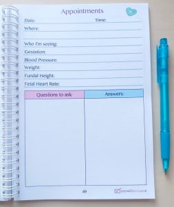 Appointments Page Pregnancy Diary
