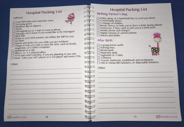 Hospital Packing List Inside Page