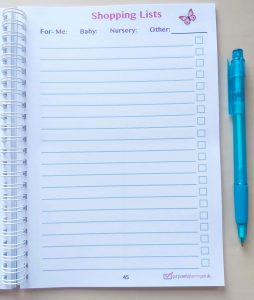 Shopping Lists Pregnancy Diary