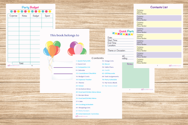 Party Planner inside pages