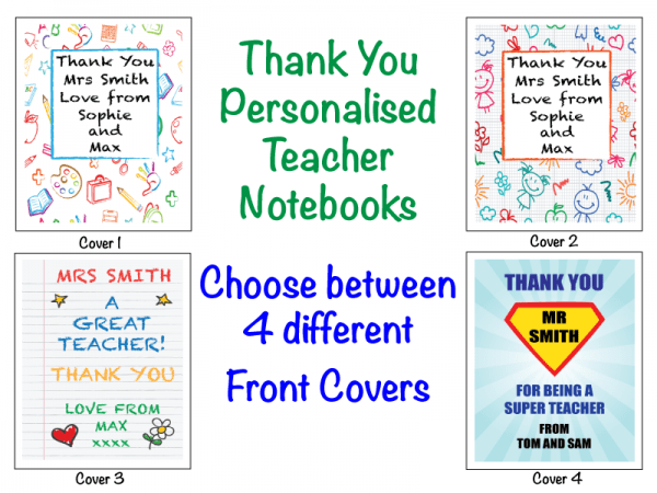 Thank You Personalised Teacher Notebook Gift