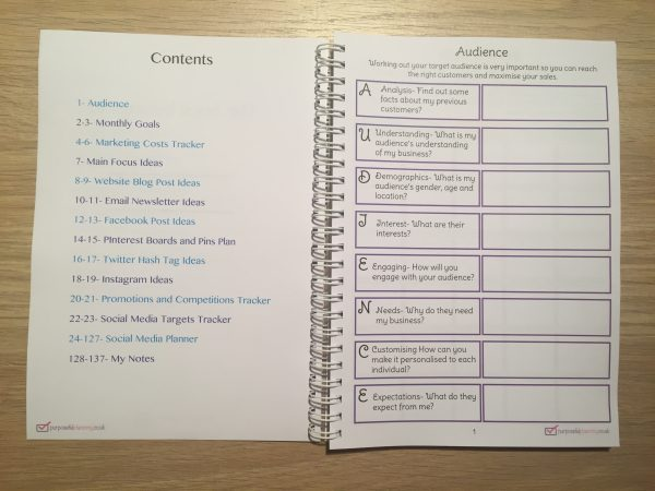 Social Media Marketing Planner Notebook Contents Page and Audience