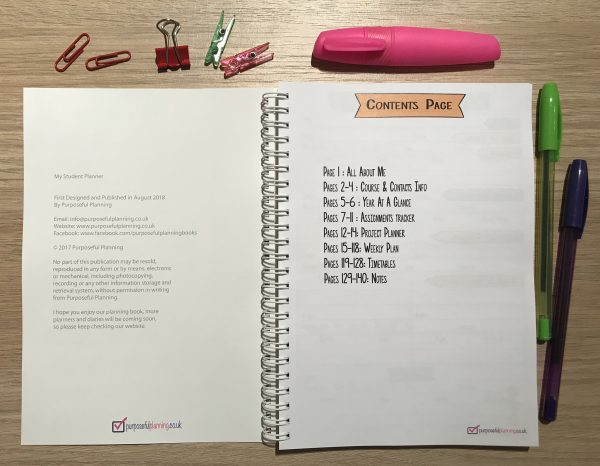 Student Planner Contents