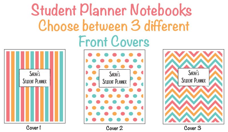 Student Planner Notebook Front Cover Choices