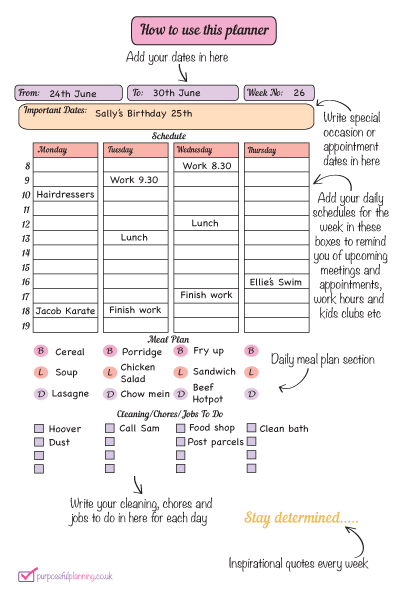 How to use the Weekly Life Planner page 1